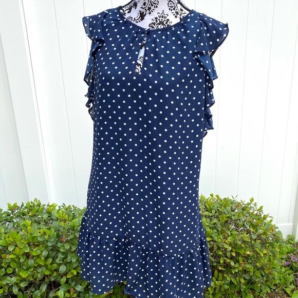 J. Crew Women's Dress Blue White Polka Dots